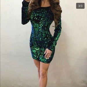 Dresses & Skirts - Green/Blue Bodycon Sequin Dress